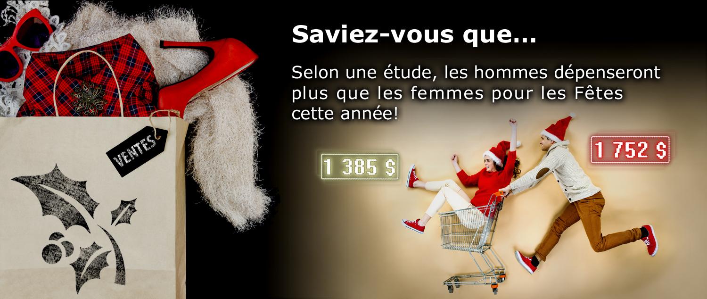 Selon une étude, les hommes dépenseront plus que les femmes pour les Fêtes cette année.